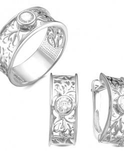 Гарнитур из серебра с фианитами родированное