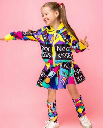"Костюм для девочки ""Neon"" (бомберка, юбка и гетры)"