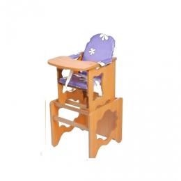 Стол-стул Премьер РОМАШКИ, фиолетовый, ЛДСП, светлый орех ,