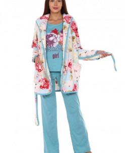 Костюм-тройка Агата (3291). Расцветка: цветы голубой