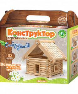 Домик деревянный конструктор 63 детали (Юный зодчий)
