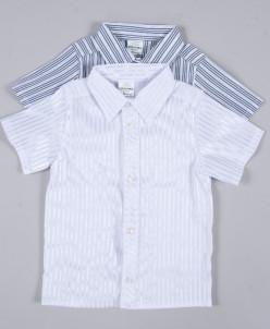 Сорочка праздничная стрейч полоска белая короткий рукав 146