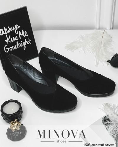 Туфли №1503-Черный Замш