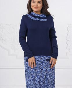 Платье Д1228. Темно-синий . Вязаный трикотаж