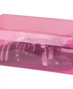 """Коробка для хранения женской обуви 28*18*10 см """"Розовая"""" скл"""