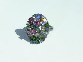 """Перстень кольцо """"клумба"""" серебро 925*+полудраги"""