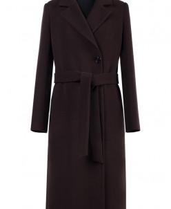01-6912 Пальто женское демисезонное(пояс) Кашемир Шоколад