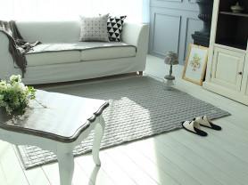 Серый безворсовый ковер покрывало Linen 150 x 200