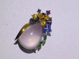 кулон серебро+роз.кварц,рубины,кианиты,хромдиопсид