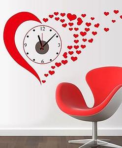 """Часы - наклейка """"Сердце"""""""