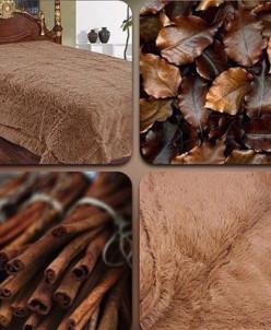 Плед пушистый цвет коричневый