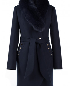 Пальто женское утепленное (пояс) Кашемир Navy