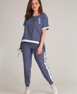блуза, брюки Anastasiya Mak Артикул: 623 синий/горошек