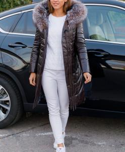 Женская зимняя куртка из эко-кожи 8107 коричневая