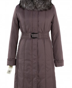 05-1006 Куртка зимняя (пояс) Плащевка Коричневый