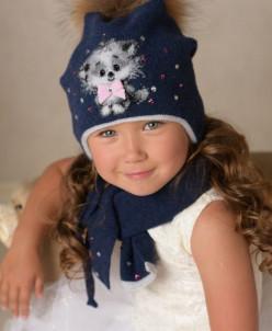 КИСА комплект          (шапка, шарф, варежки двуслойные)