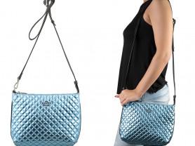 Новая кожаная сумка Италия голубой металлик