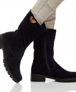 Женские замшевые ботинки с декором (байка/экомех - на выбор)