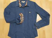 Женский батник рубашка Burberry, синий цвет. Новая