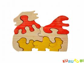 Деревянный пазл Курица и цыплята