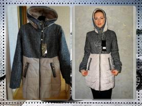 Новое теплое осеннее пальто с капюшоном р 42