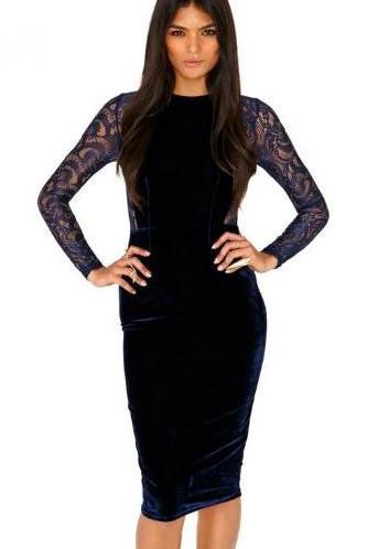 Черное кружевное бархатное платье