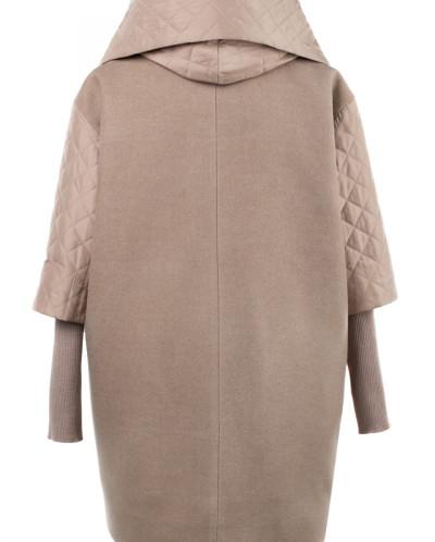 Пальто женское утепленное Валяная шерсть/Плащевка Бежевый