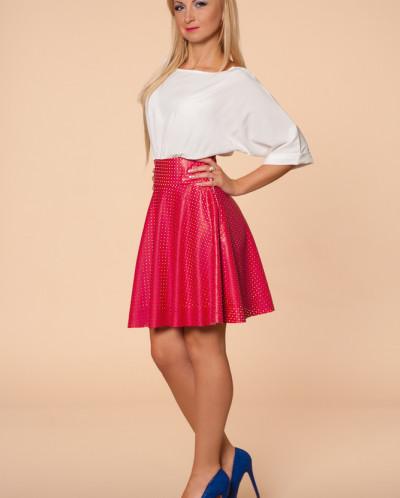 Платье № 874-молоч-красный
