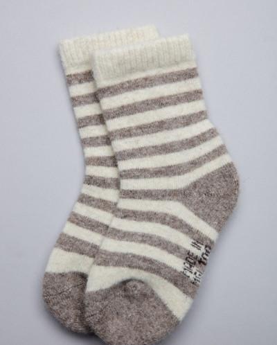 Носки детские из шерсти 100% серый с полосами, Монголия