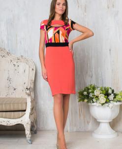 Платье коралловый принт