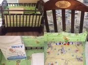 Детская кроватка + матрас ортo + постельное +ванна