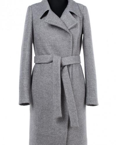 01-7169 Пальто женское демисезонное(пояс) Вареная шерсть Сер