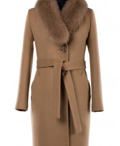 02-1706 Пальто женское утепленное (пояс) Кашемир Кэмел