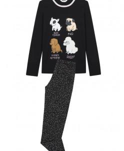 Siyah Teen Dogs 2 Li Pijama Takımı