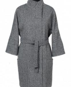 01-4130 Пальто женское демисезонное (пояс) Твид Серо-черный