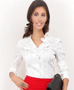 Блуза белая с набивным рисунком