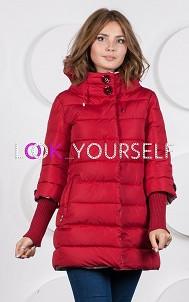 Куртка с вязаными рукавами и цветочными пуговиц 812
