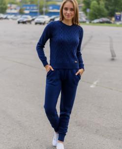 Женский вязанный костюм арт.385 темно-синий