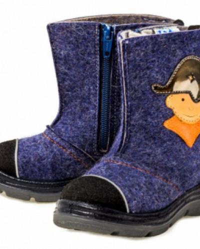 Валенки Котофей 367016-01 синий/оранжевый