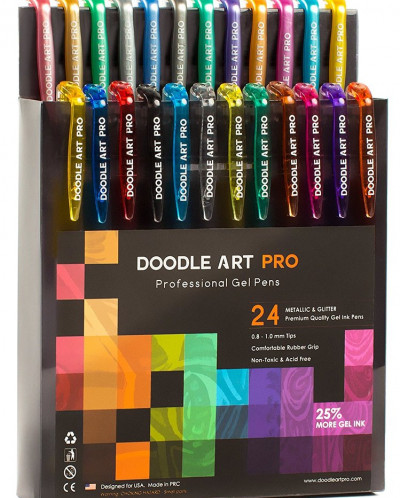 Glitter Gel Pens with Metallic Set of 24