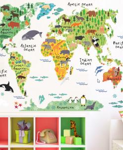 """Наклейка многоразовая """"Карта мира с Животными"""""""