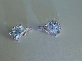серьги серебро с топазами и цирконами