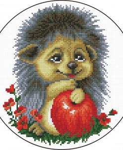 Ежик с яблоком - вышивка крестиком