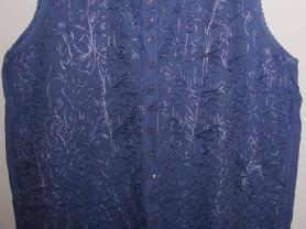 Майка блузка тонкая вискоза Индия синяя р.54-56-58