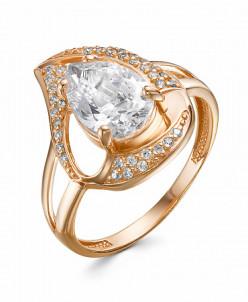 0715 Кольцо с фианитом позолоченное серебро 925*