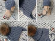 Новая зимняя шапка с помпоном