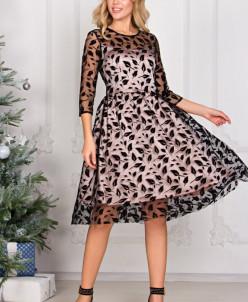 Платье Изольда перышки на черной сетке (П-140-13)
