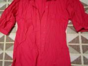 Блуза - туника- рубашка цвет коралловый р.44