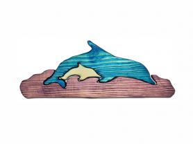 Деревянный пазл Два дельфина