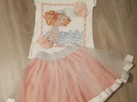 Комплект, футболка и модная юбочка, от 3 до 6 лет